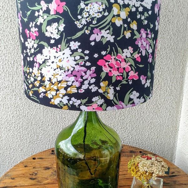 Abajur de garrafão - Verde floral